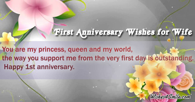 First anniversary wishes for wife